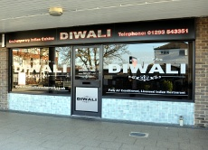 Exterior of Diwali Indian restaurant, Gossops Green, Crawley