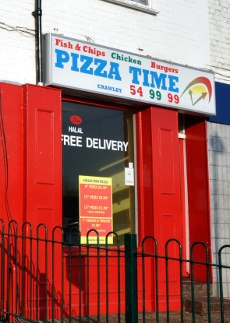Exterior of Pizza Time, Crawley